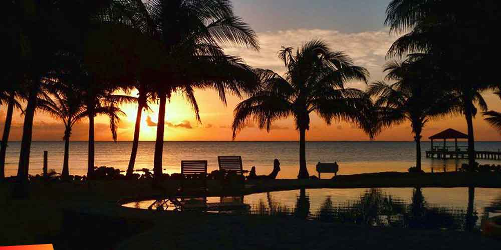 Sunset on Ambergris Caye.